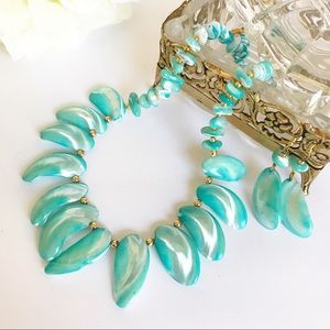 Jewelry - Aqua Shell Necklace and Dangle Earrings Set